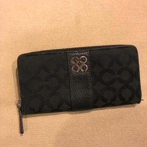 COACH logo fabric accordion wallet